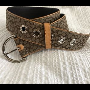 Coach•Woven Jacquard Leather Belt• D Buckle